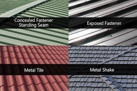 different metal roof materials